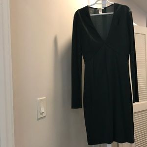H&M Long Sleeve Forest Green Midi Dress